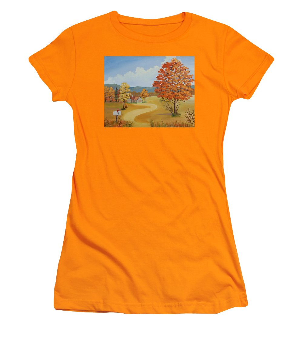 Landscape Women's T-Shirt (Athletic Fit) featuring the painting Autumn Season by Ruth Housley