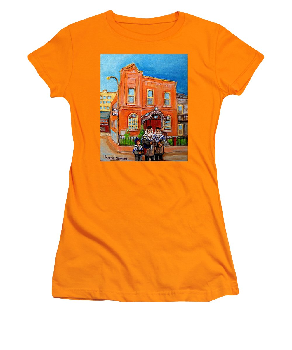 Bagg Street Synagogue Sabbath Women's T-Shirt (Athletic Fit) featuring the painting Bagg Street Synagogue Sabbath by Carole Spandau
