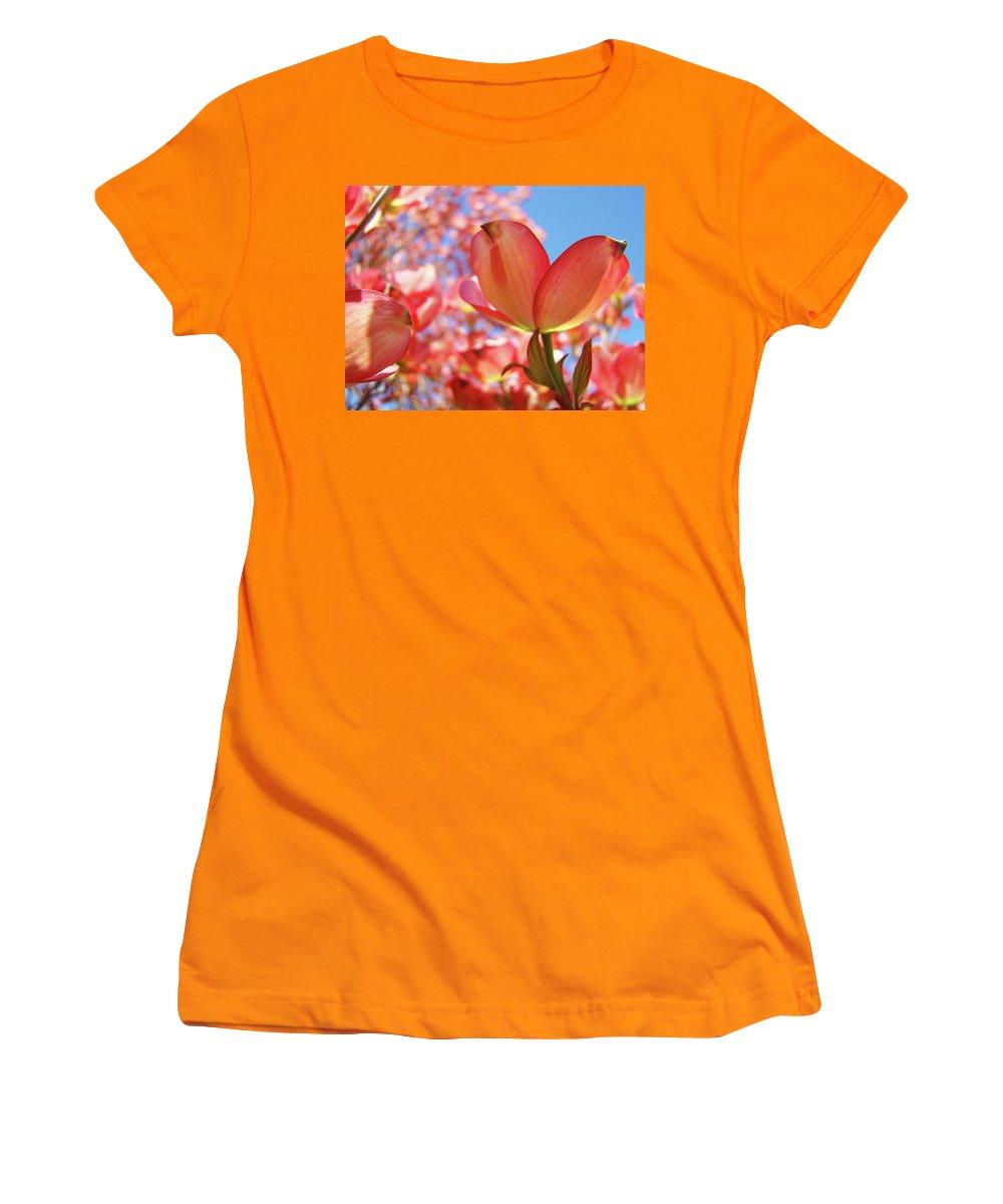 Dogwood Women's T-Shirt (Athletic Fit) featuring the photograph Blue Sky Pink Azalea Dogwood Flowers 4 Landscape Nature Artwork by Baslee Troutman