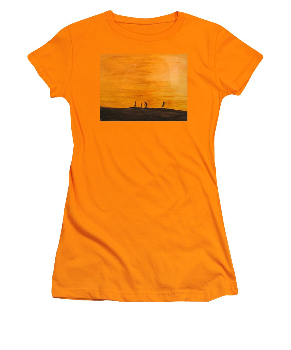 Boys Women's T-Shirt (Athletic Fit) featuring the painting Boys At Sunset by Ian MacDonald