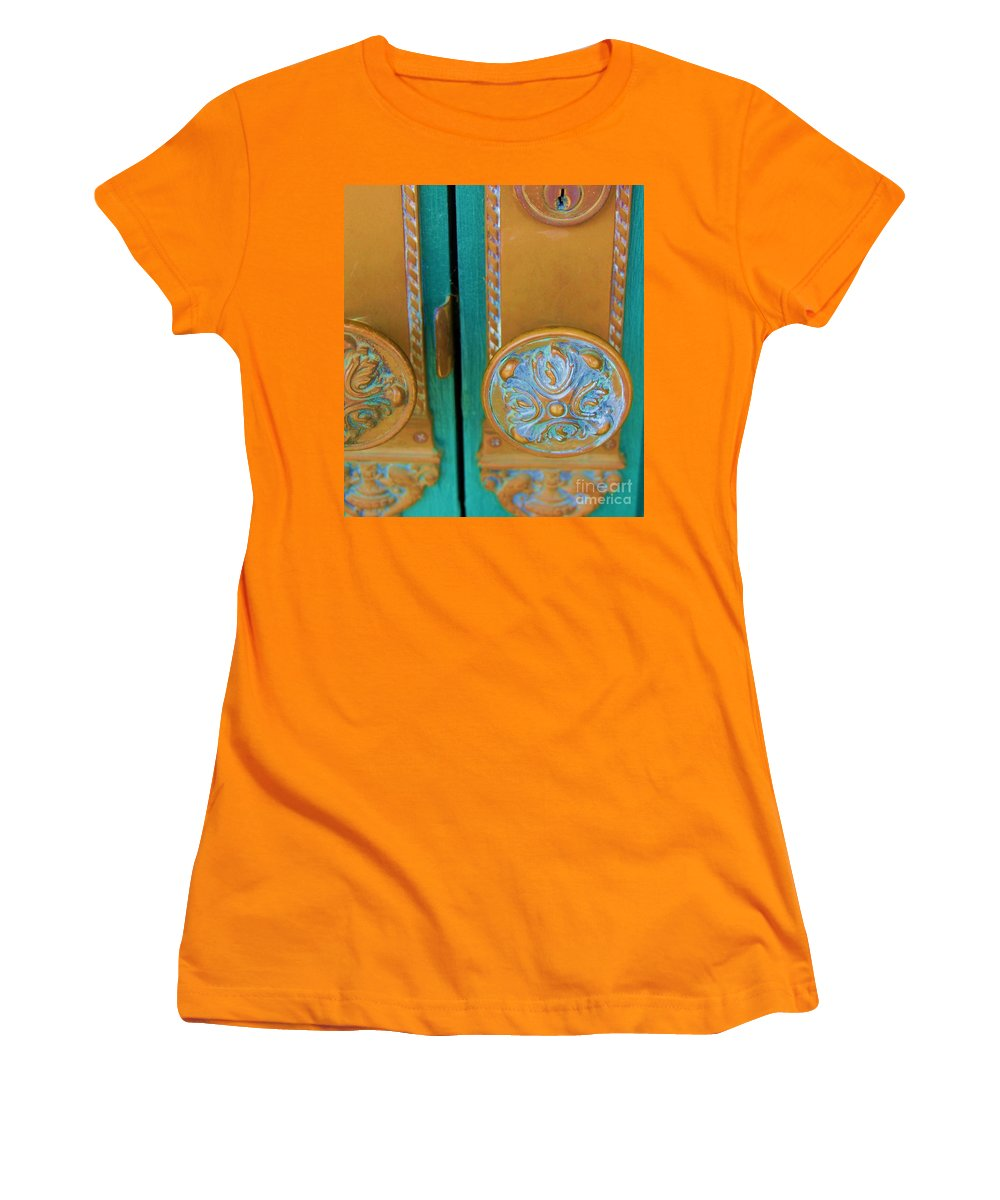 Door Women's T-Shirt (Athletic Fit) featuring the photograph Brass Is Green by Debbi Granruth