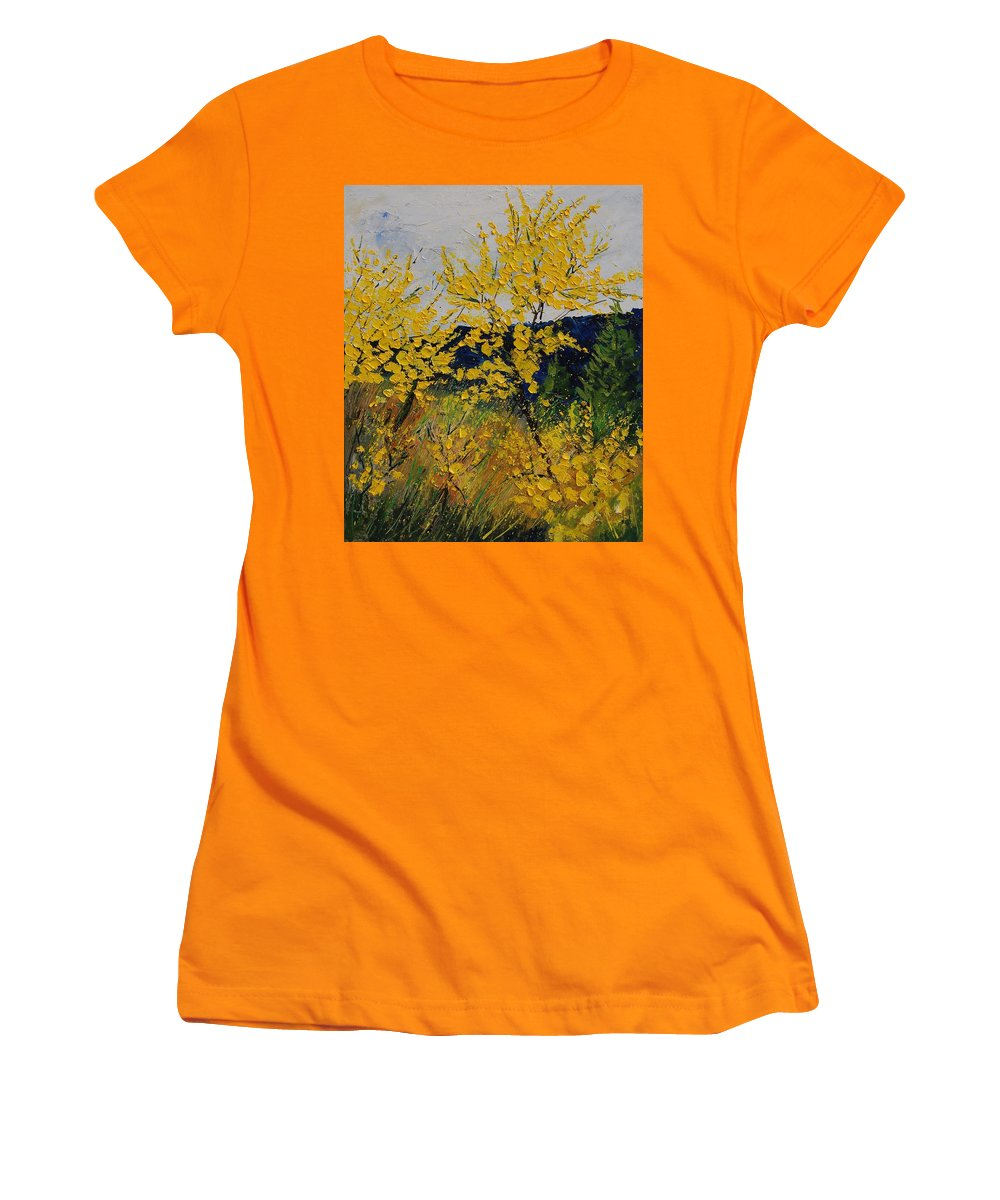 Flowers Women's T-Shirt (Athletic Fit) featuring the painting Brooms by Pol Ledent