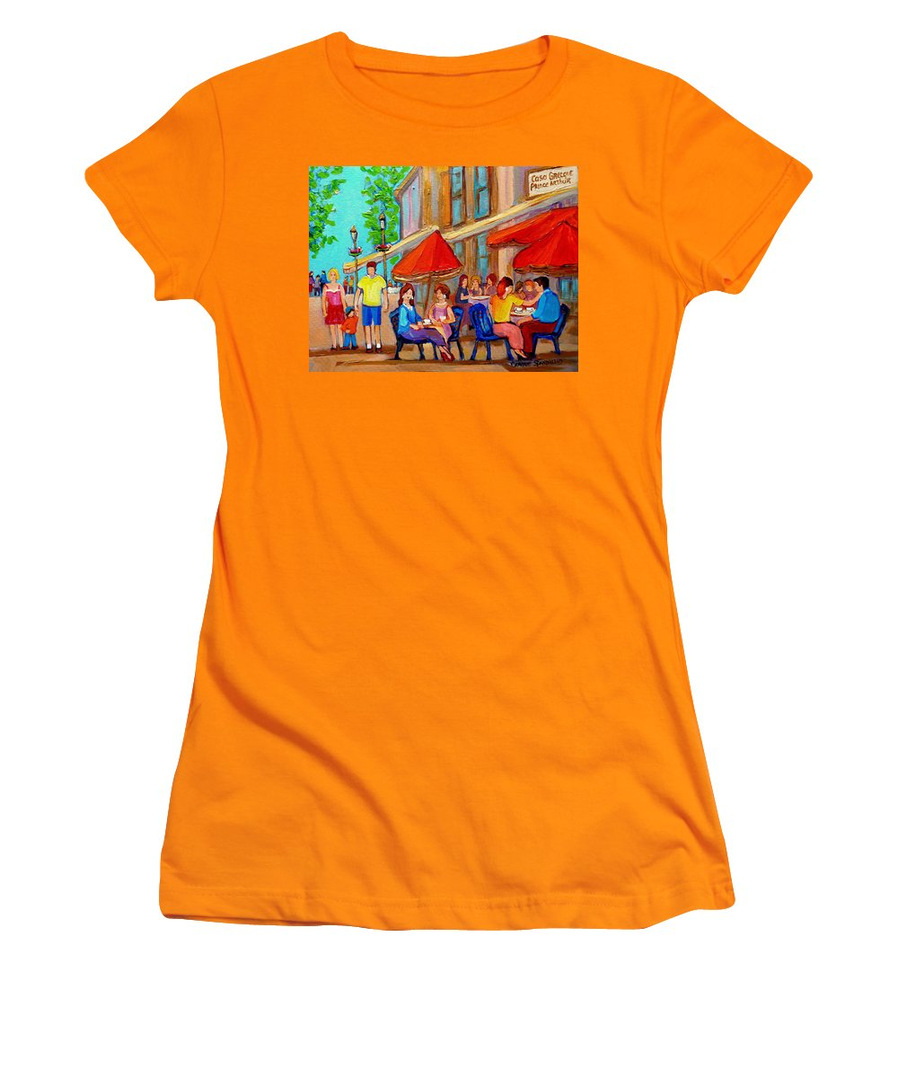 Cafescene Women's T-Shirt (Athletic Fit) featuring the painting Cafe Casa Grecque Prince Arthur by Carole Spandau