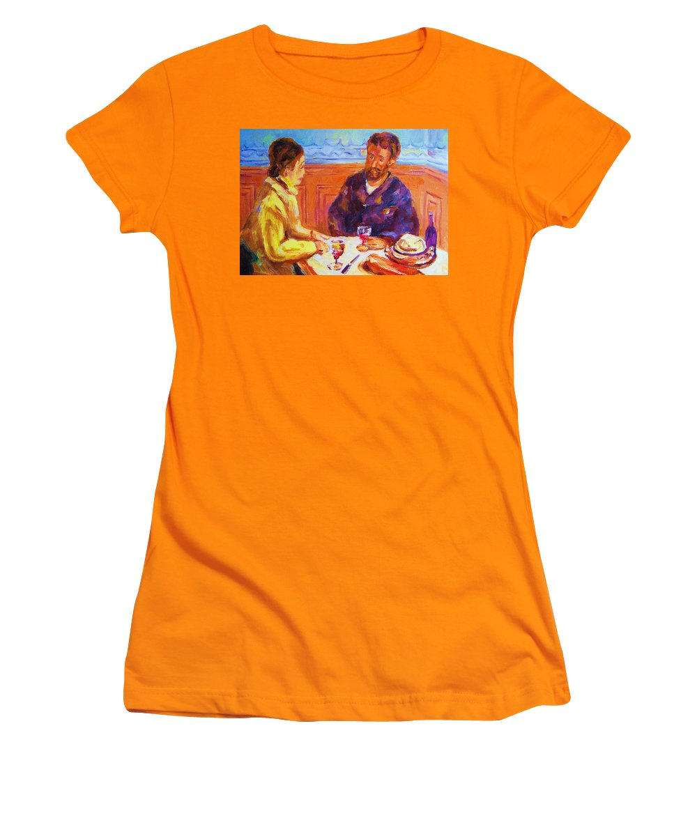 Cafes Women's T-Shirt (Athletic Fit) featuring the painting Cafe Renoir by Carole Spandau