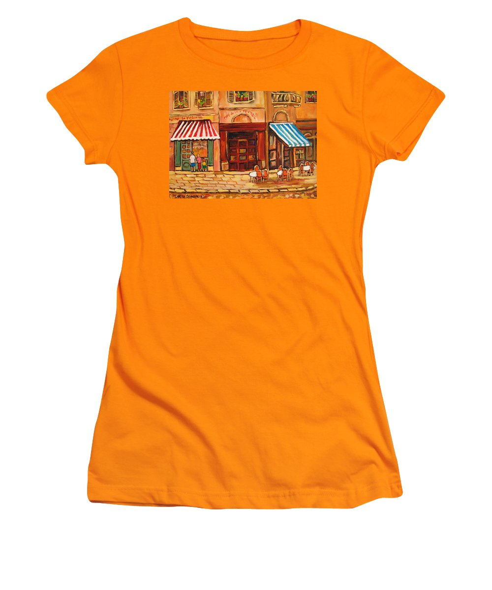 Cafe Vieux Montreal Street Scenes Women's T-Shirt (Athletic Fit) featuring the painting Cafe Vieux Montreal by Carole Spandau