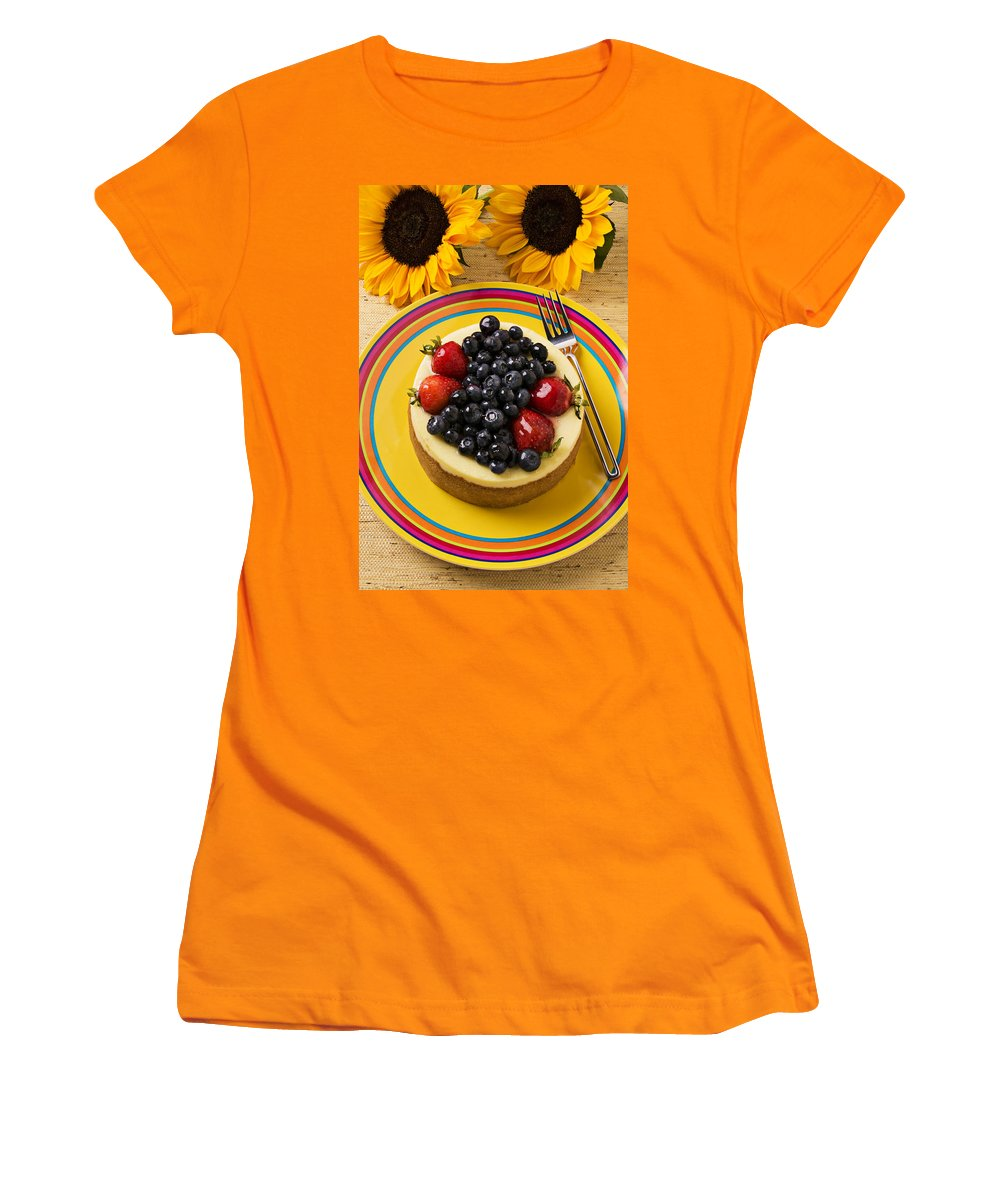 Fruit Women's T-Shirt (Athletic Fit) featuring the photograph Cheesecake With Fruit by Garry Gay