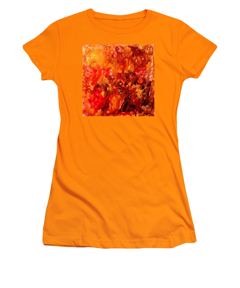 Abstract Women's T-Shirt (Athletic Fit) featuring the painting Chocolate Cherry Kiss by Natalie Holland