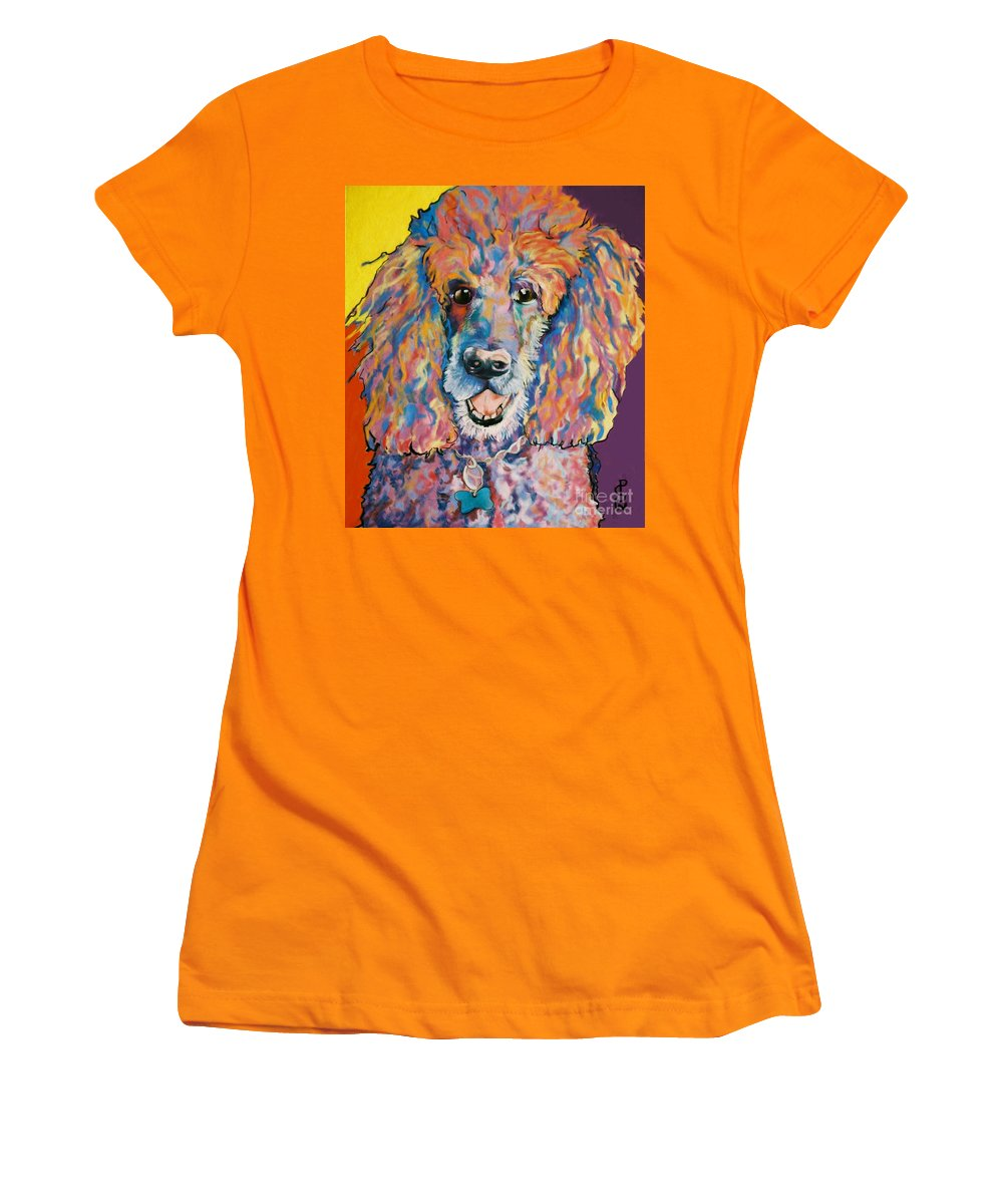 Standard Poodle Women's T-Shirt (Athletic Fit) featuring the painting Cole by Pat Saunders-White