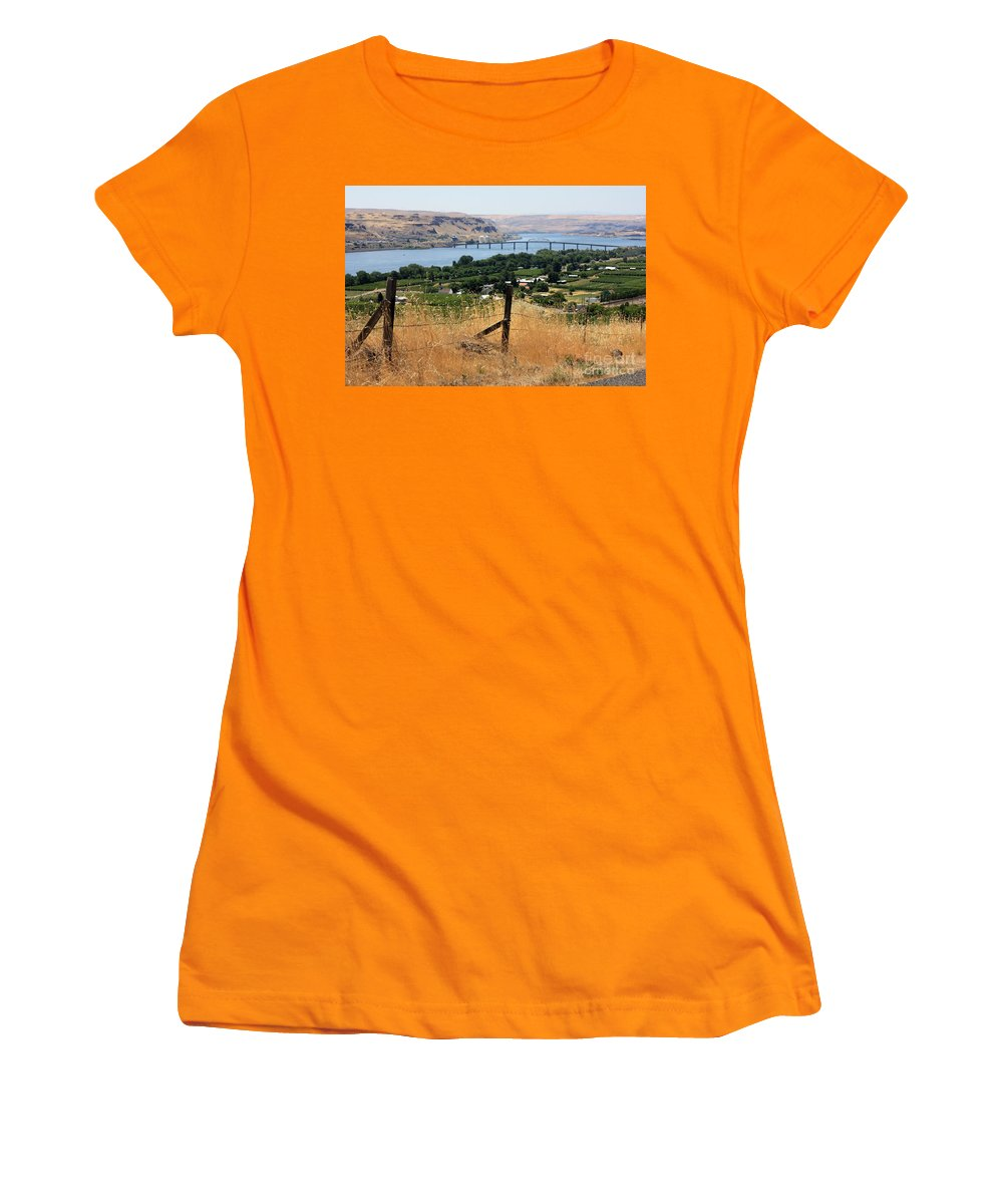 River Women's T-Shirt (Athletic Fit) featuring the photograph Columbia River - Biggs And Maryhill State Park by Carol Groenen