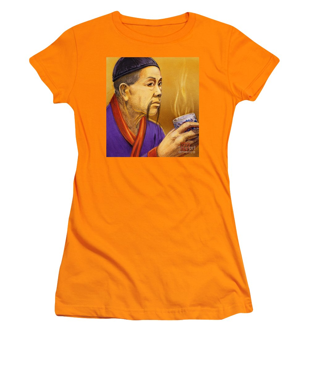 Oriental Women's T-Shirt (Athletic Fit) featuring the painting Confucian Sage by Melissa A Benson