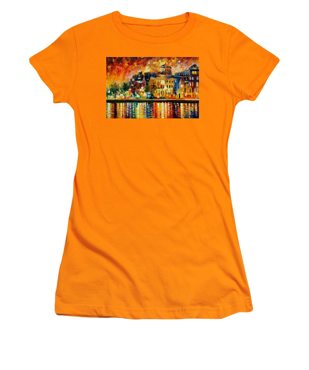 City Women's T-Shirt (Athletic Fit) featuring the painting Copenhagen Original Oil Painting by Leonid Afremov