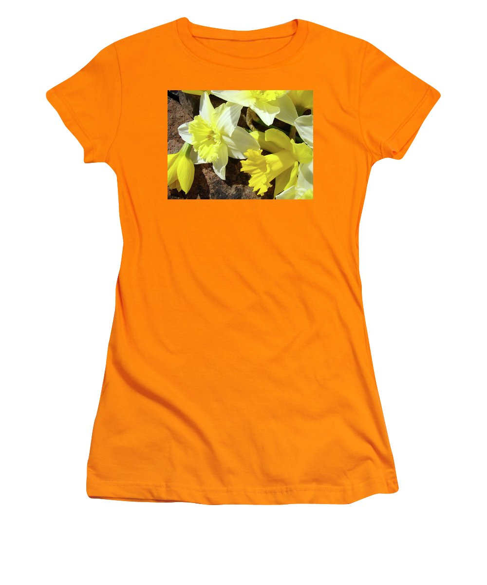 �daffodils Artwork� Women's T-Shirt (Athletic Fit) featuring the photograph Daffodils Flower Bouquet Rustic Rock Art Daffodil Flowers Artwork Spring Floral Art by Baslee Troutman