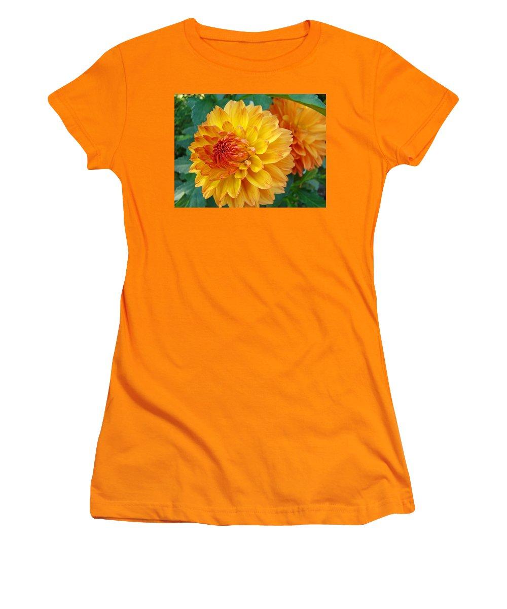 Dahlia Women's T-Shirt (Athletic Fit) featuring the photograph Dahlias Art Prints Orange Dahlia Flowers Baslee Troutman by Baslee Troutman