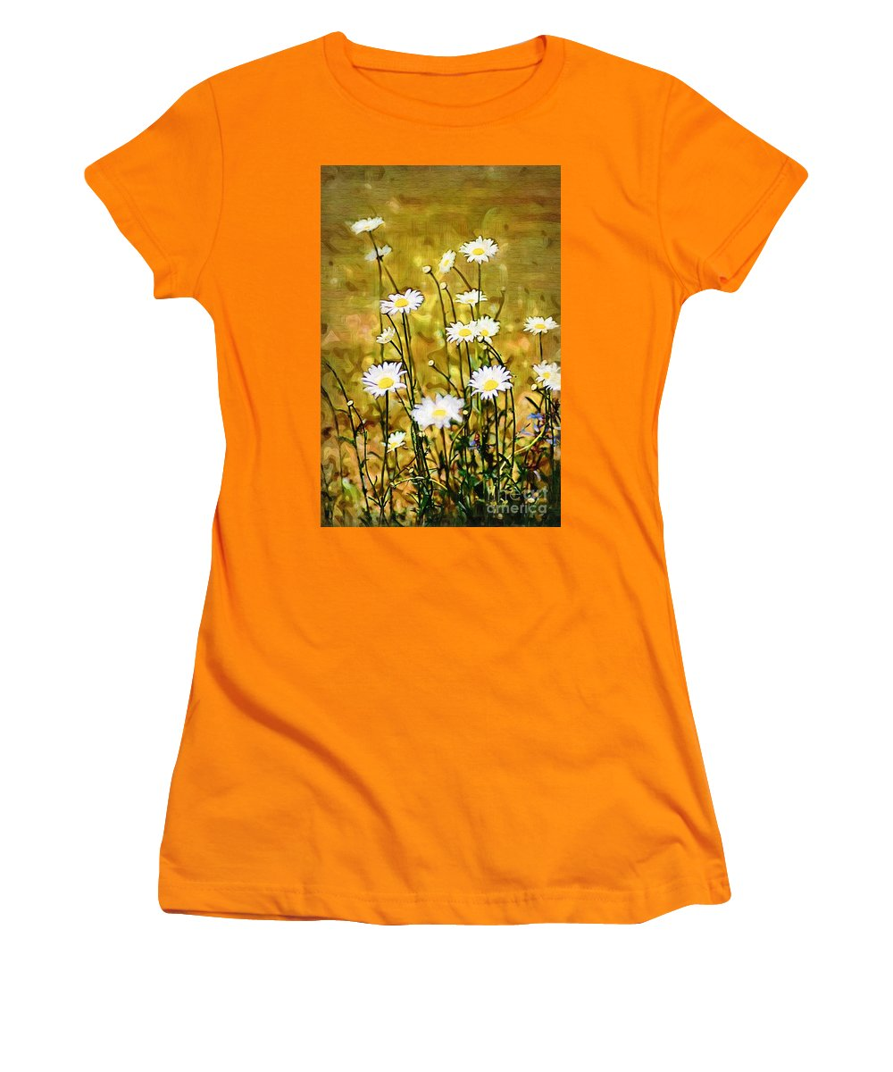 Daisy Women's T-Shirt (Athletic Fit) featuring the photograph Daisy Field by Donna Bentley