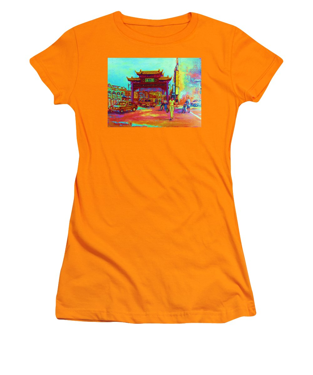Montreal Women's T-Shirt (Athletic Fit) featuring the painting Entrance To Chinatown by Carole Spandau