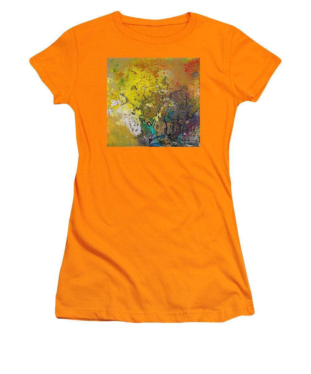 Miki Women's T-Shirt (Athletic Fit) featuring the painting Fantaspray 13 1 by Miki De Goodaboom