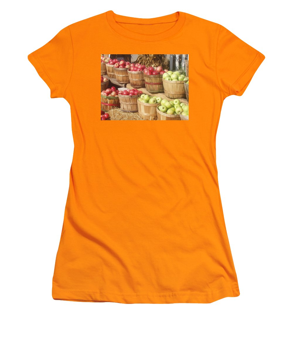 Farmers Market Women's T-Shirt (Athletic Fit) featuring the photograph Farmer's Market Apples by Wayne Potrafka