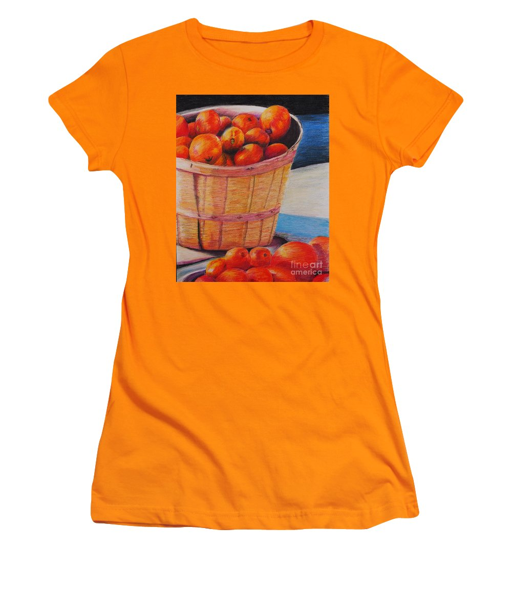 Produce In A Basket Women's T-Shirt (Athletic Fit) featuring the drawing Farmers Market Produce by Nadine Rippelmeyer