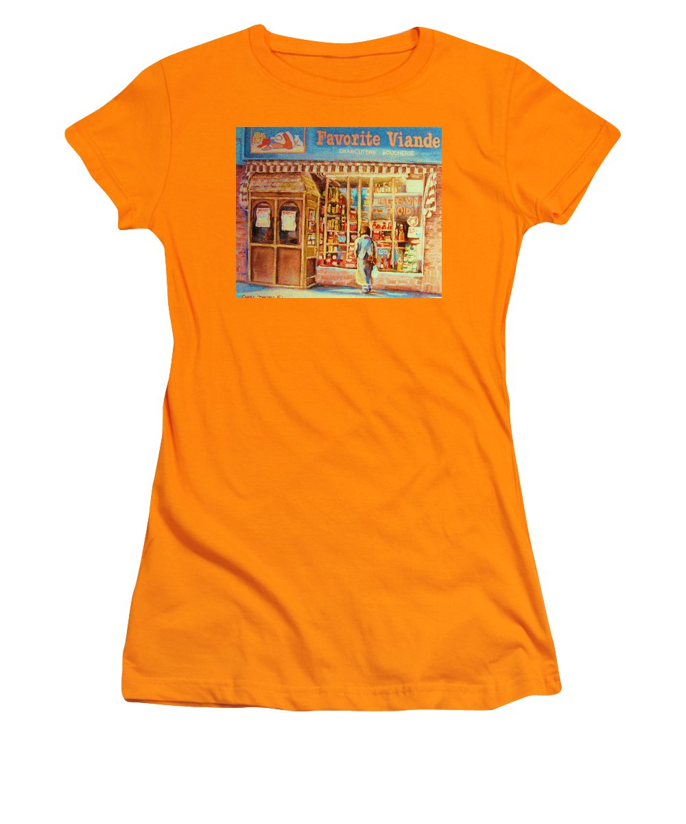 Markets Women's T-Shirt (Athletic Fit) featuring the painting Favorite Viande Market by Carole Spandau
