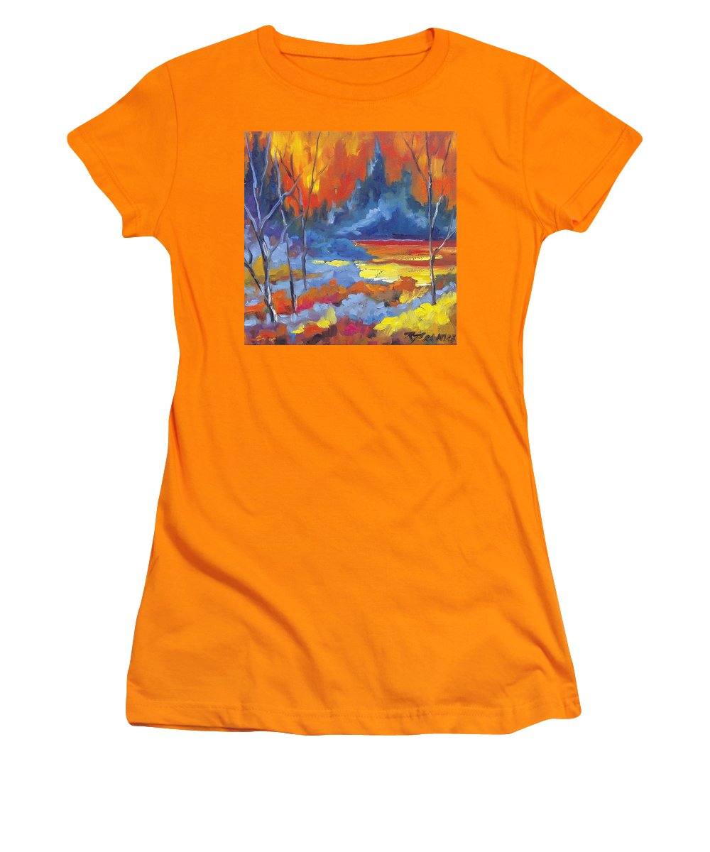Art Women's T-Shirt (Athletic Fit) featuring the painting Fire Lake by Richard T Pranke