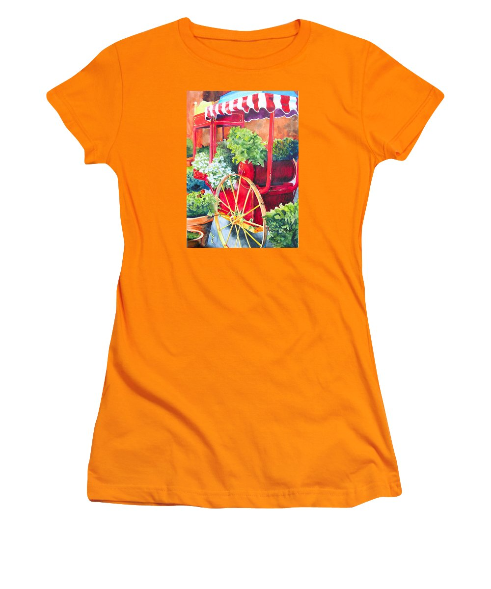 Floral Women's T-Shirt (Athletic Fit) featuring the painting Flower Wagon by Karen Stark