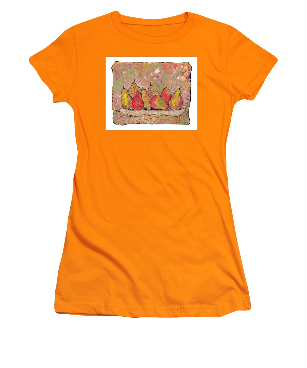 Pears Women's T-Shirt (Athletic Fit) featuring the painting Four Pair Of Pears by Wayne Potrafka