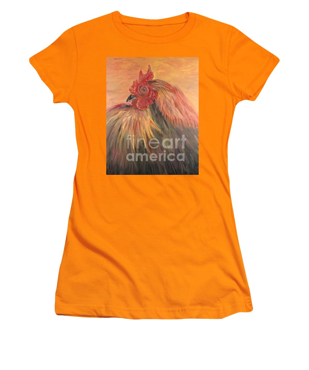 Rooster Women's T-Shirt (Athletic Fit) featuring the painting French Country Rooster by Nadine Rippelmeyer