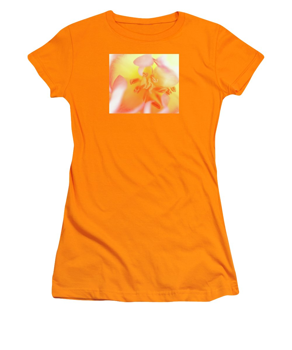 Internal Beauty Of A Tulip Women's T-Shirt (Athletic Fit) featuring the photograph From The Heart by Bill Morgenstern