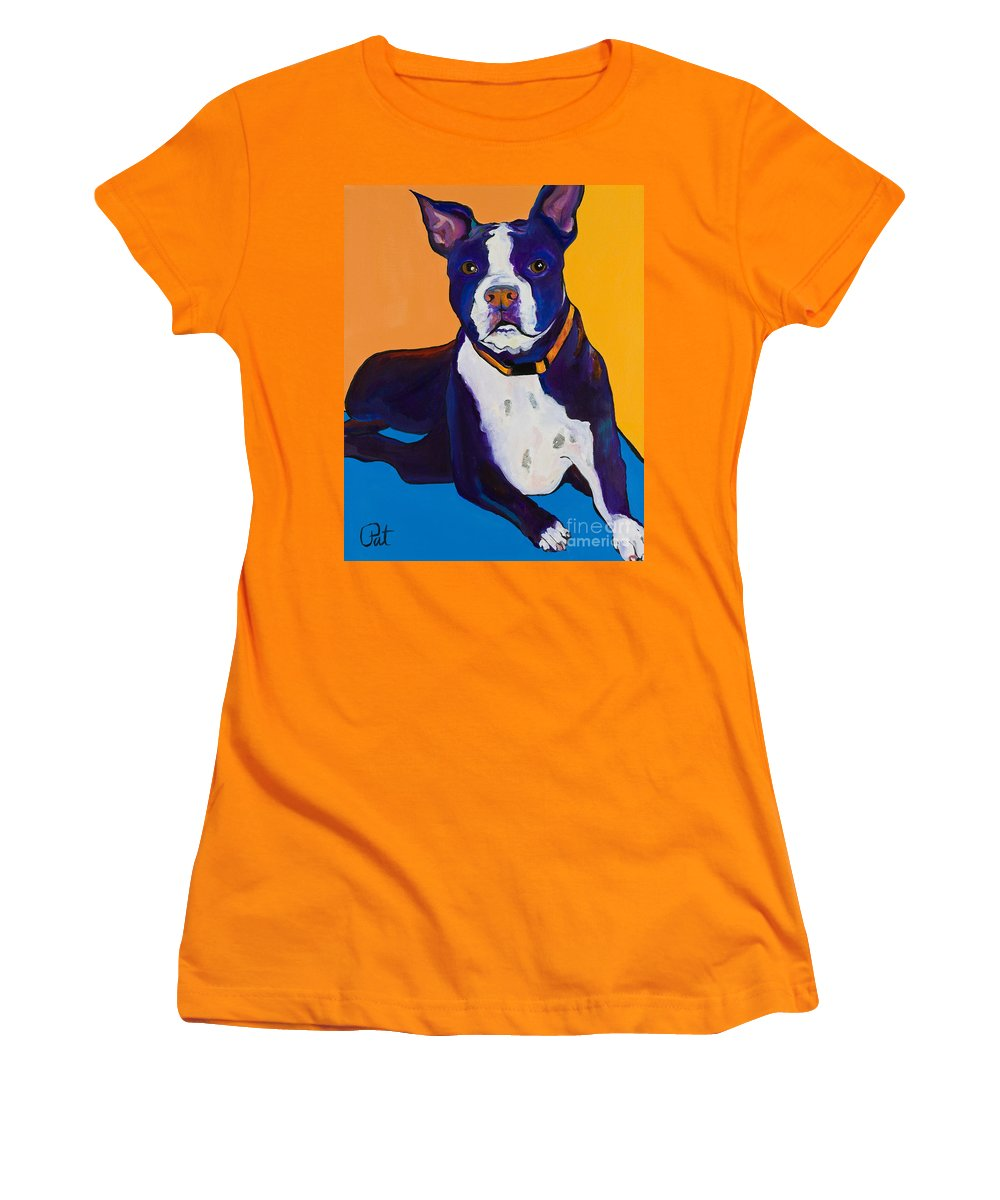 Boston Terrier Women's T-Shirt (Athletic Fit) featuring the painting Georgie by Pat Saunders-White