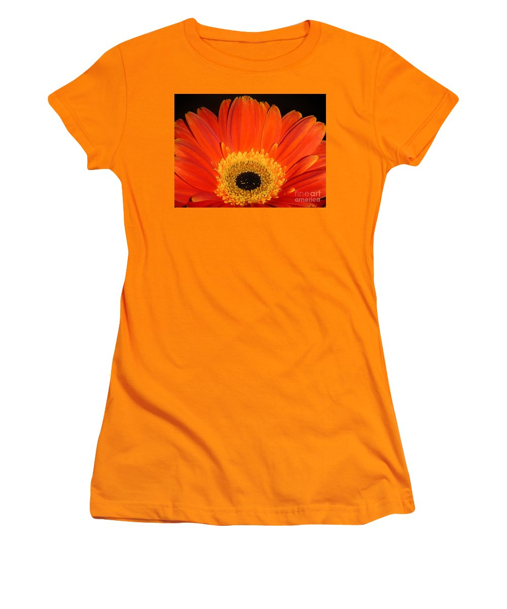 Nature Women's T-Shirt (Athletic Fit) featuring the photograph Gerbera Daisy - Glowing In The Dark by Lucyna A M Green