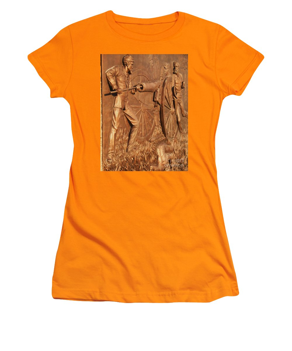 Gettysburg Women's T-Shirt (Athletic Fit) featuring the photograph Gettysburg Bronze Relief by Eric Schiabor