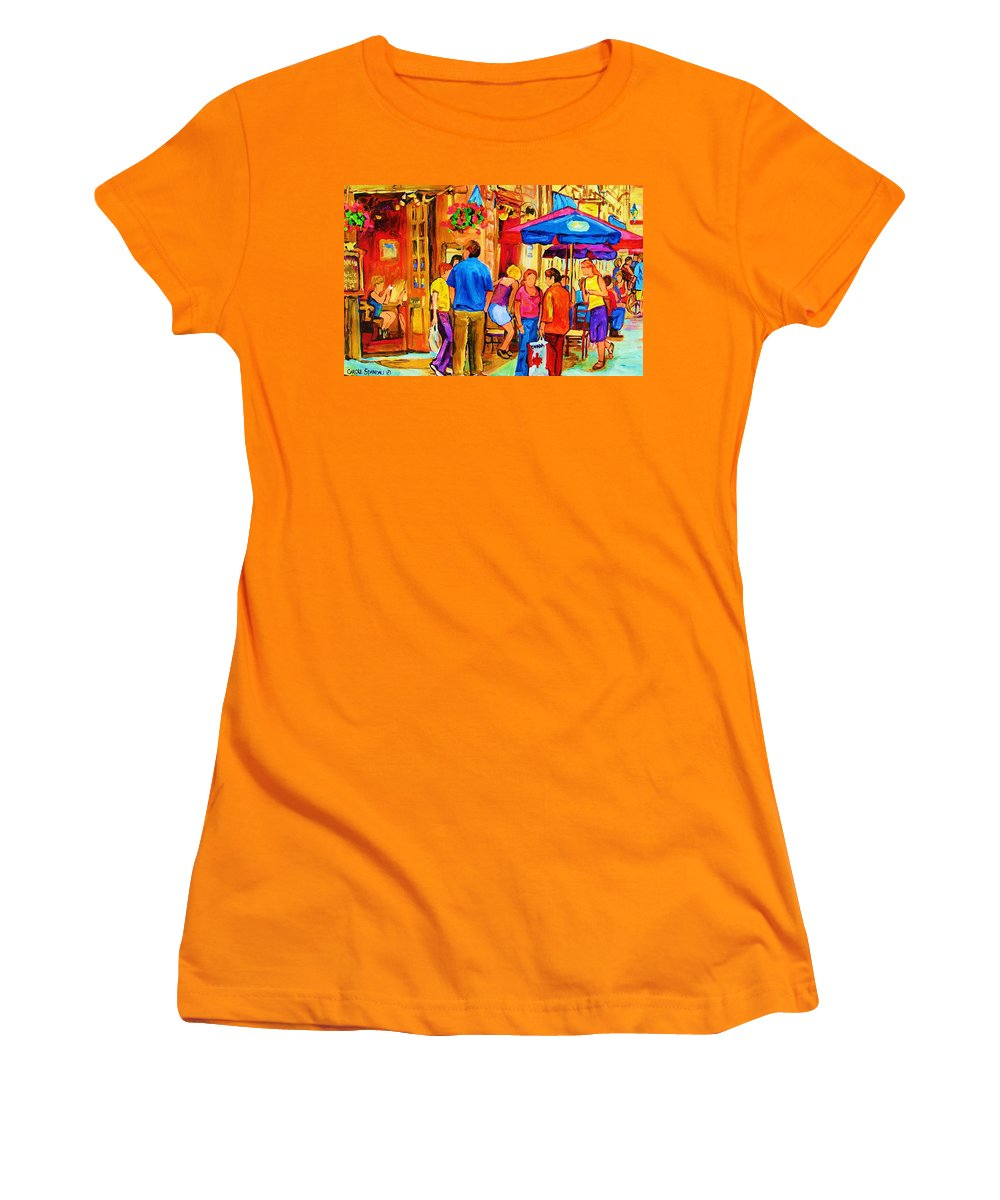 Montreal Cafe Scenes Women's T-Shirt (Athletic Fit) featuring the painting Girl In The Cafe by Carole Spandau