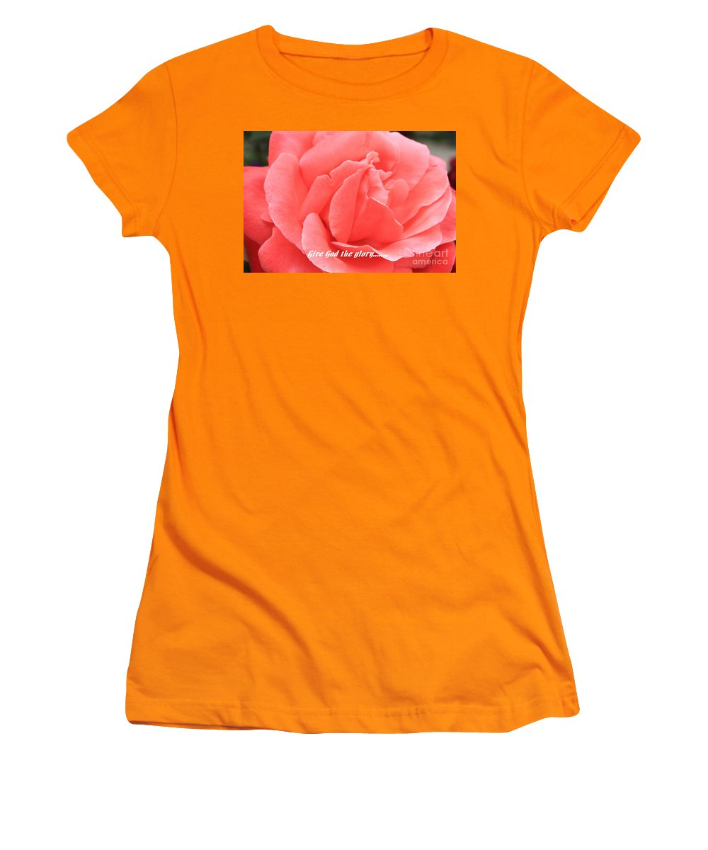 Rose Women's T-Shirt (Athletic Fit) featuring the photograph Give God The Glory by Carol Groenen