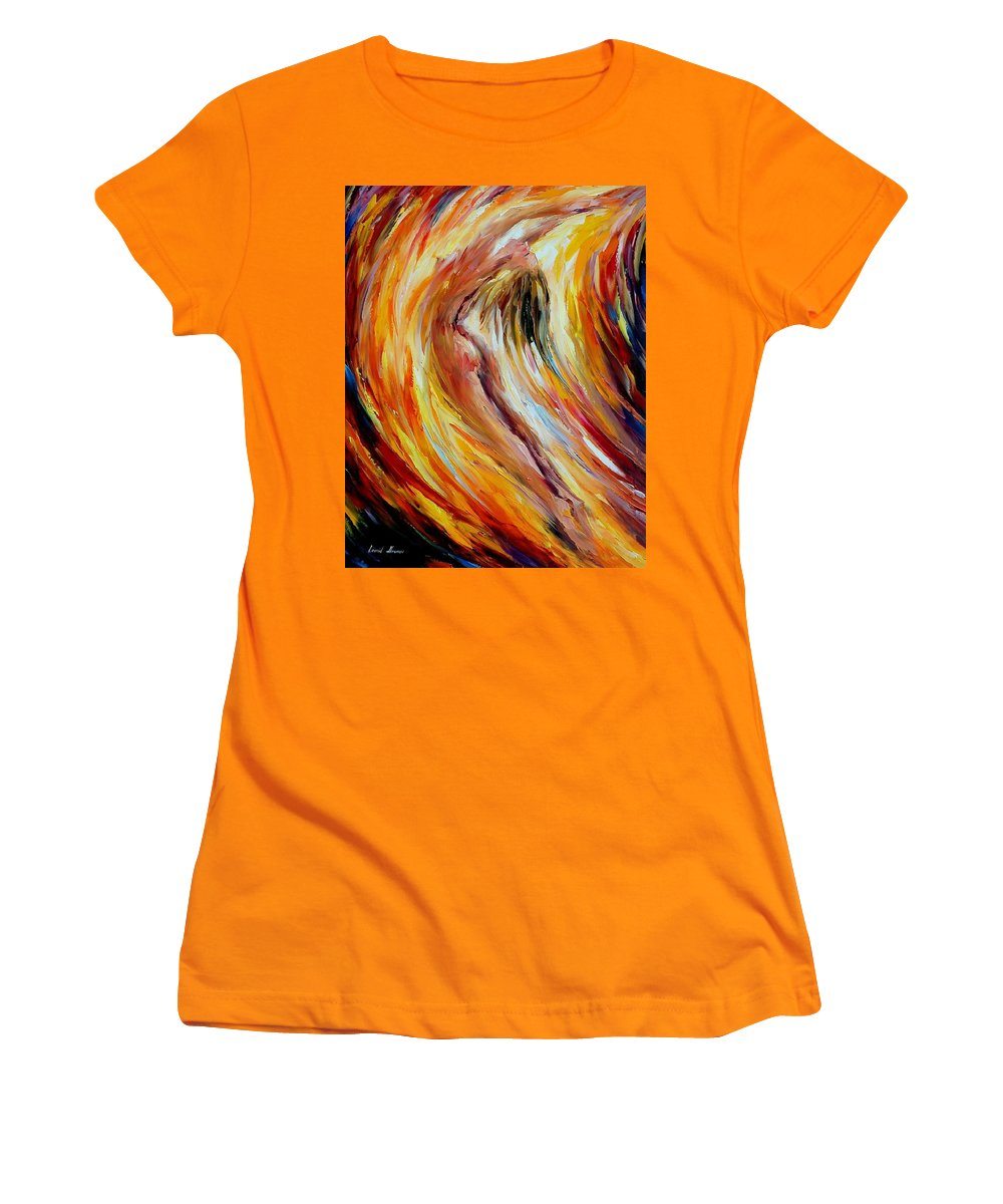 Nude Women's T-Shirt (Athletic Fit) featuring the painting Gold Falls by Leonid Afremov