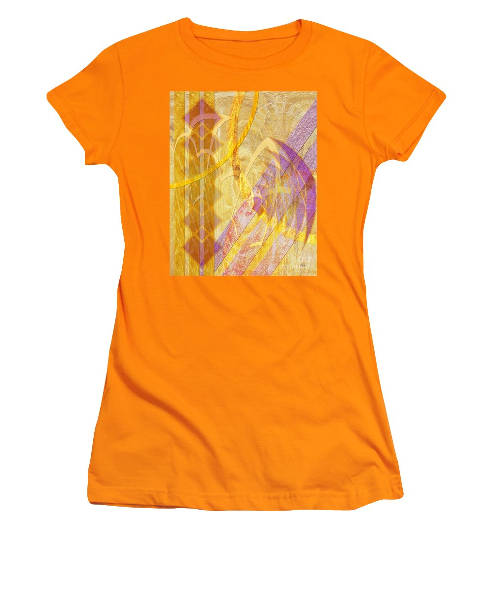 Gold Fusion Women's T-Shirt (Athletic Fit) featuring the digital art Gold Fusion by John Beck