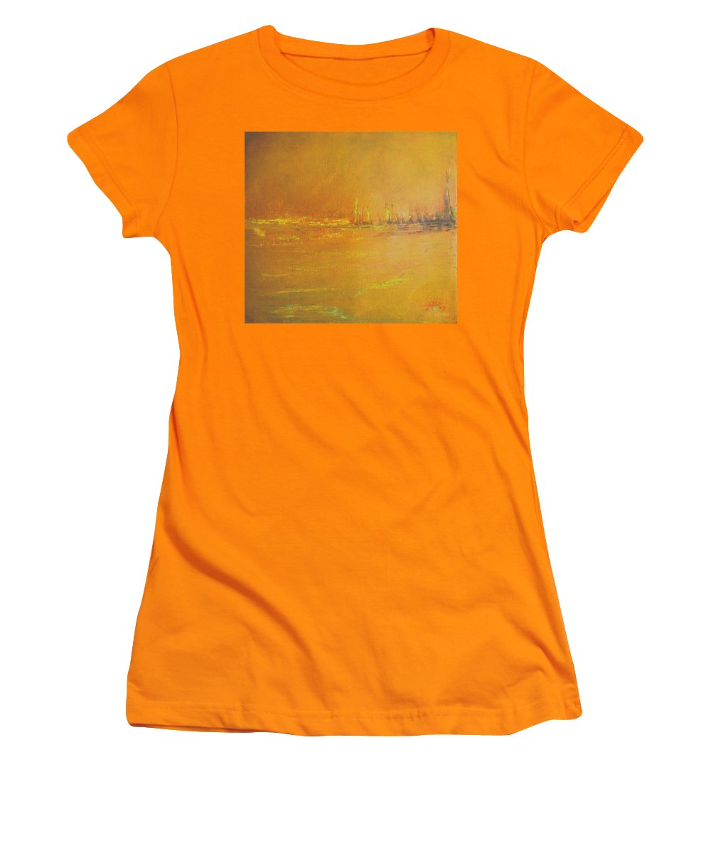 Ships Women's T-Shirt (Athletic Fit) featuring the painting Golden Sky by Jack Diamond
