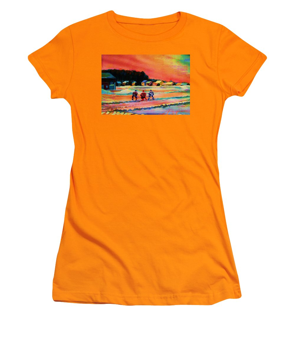 Hockey Landscape Women's T-Shirt (Athletic Fit) featuring the painting Gorgeous Day For A Game by Carole Spandau
