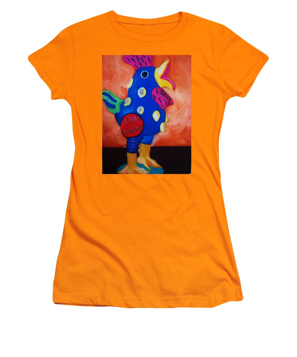Chick Women's T-Shirt (Athletic Fit) featuring the painting Hear Ye Hear Ye by Melinda Etzold