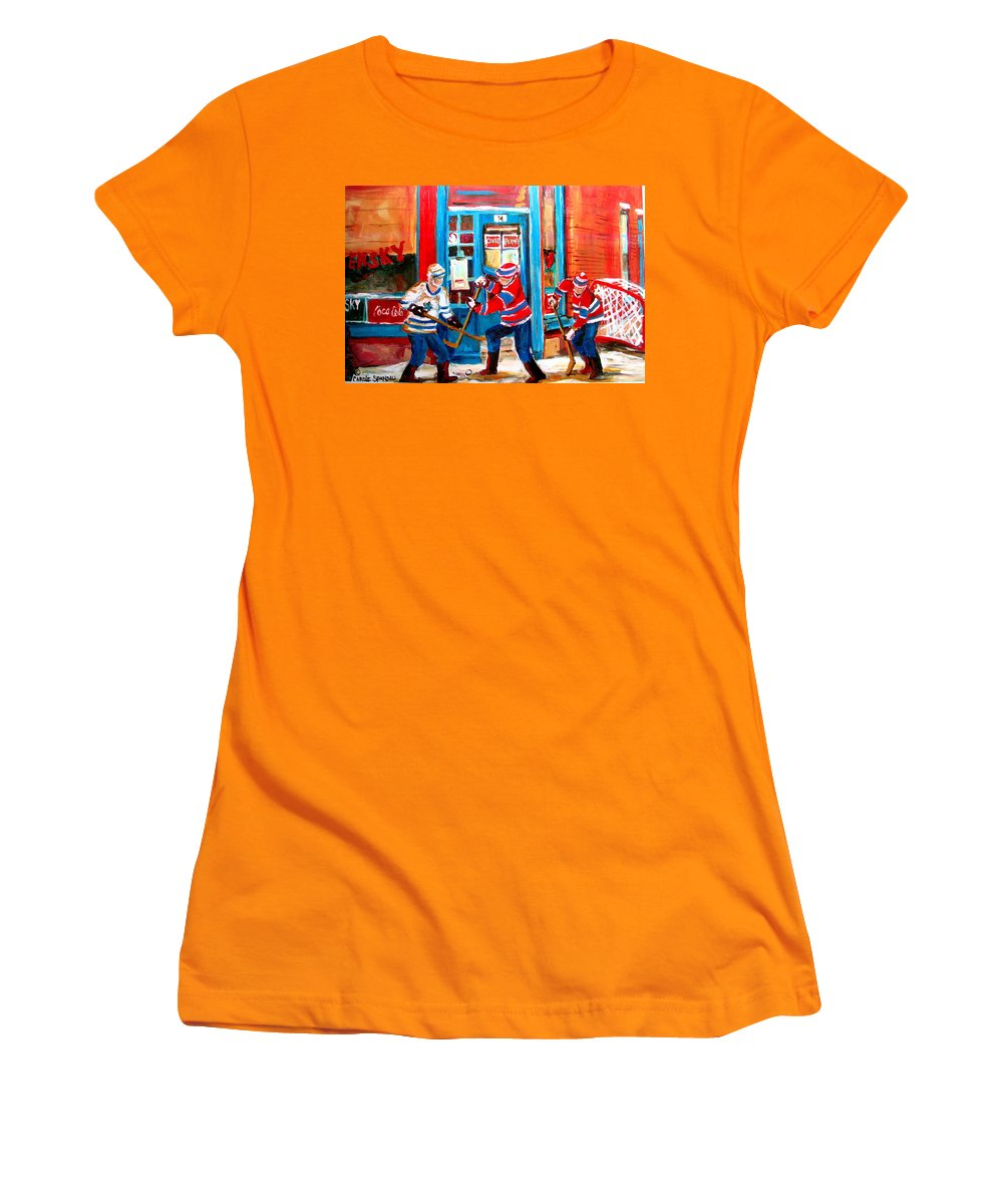 Wilenskys Women's T-Shirt (Athletic Fit) featuring the painting Hockey Sticks In Action by Carole Spandau