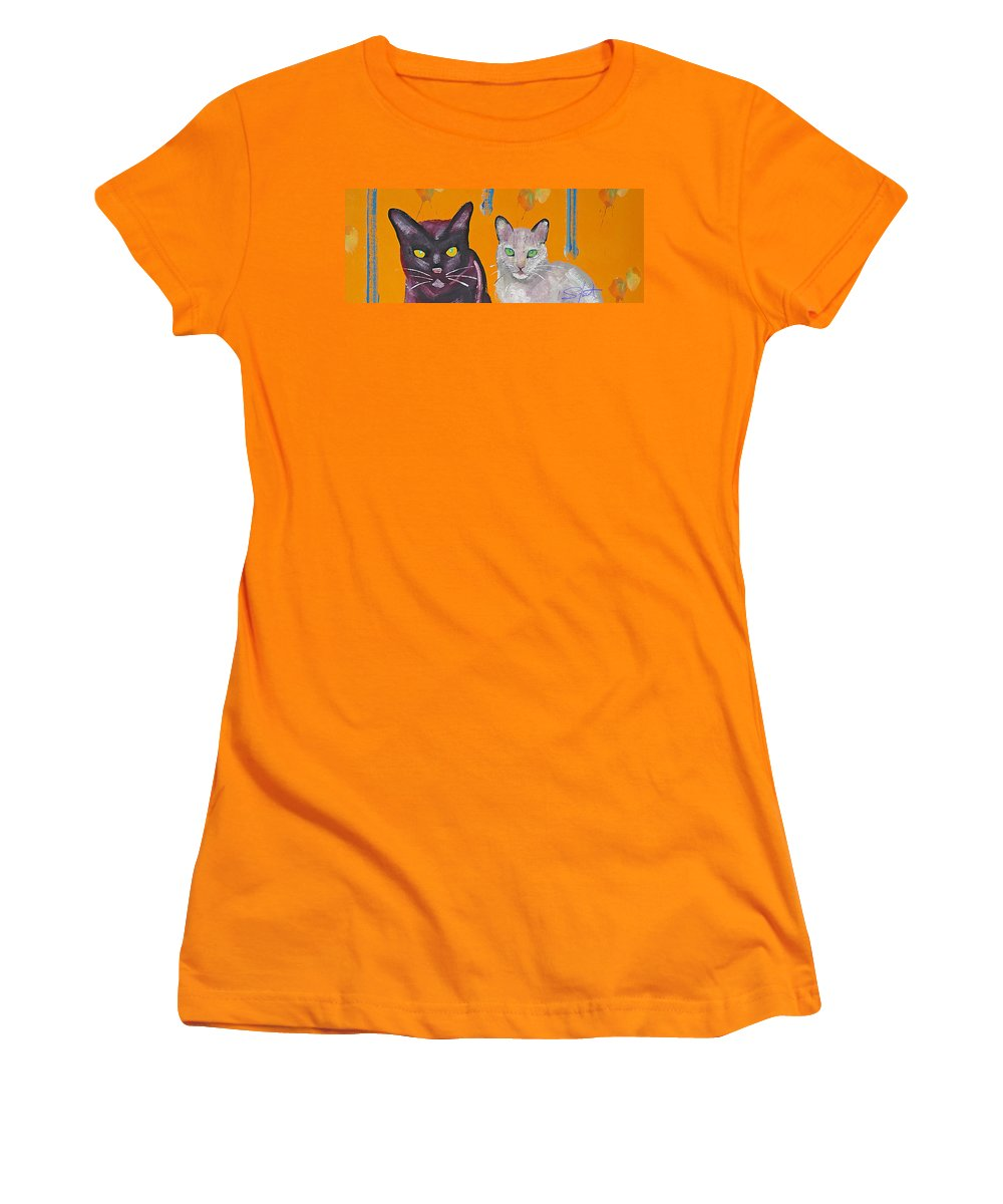 Cat Women's T-Shirt (Athletic Fit) featuring the painting House Cats by Charles Stuart