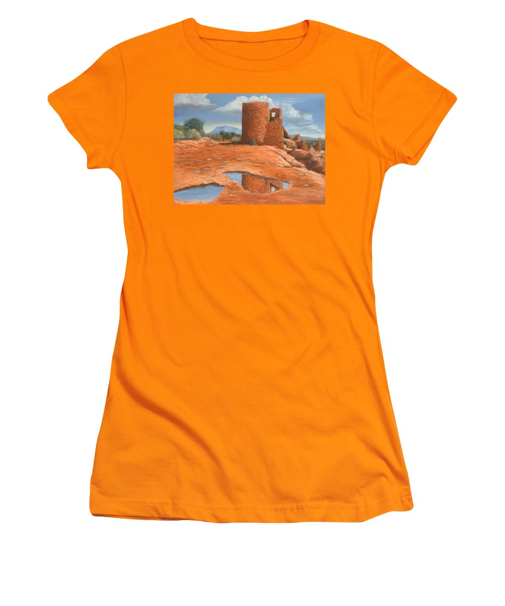 Anasazi Women's T-Shirt (Athletic Fit) featuring the painting Hovenweep Reflection by Jerry McElroy