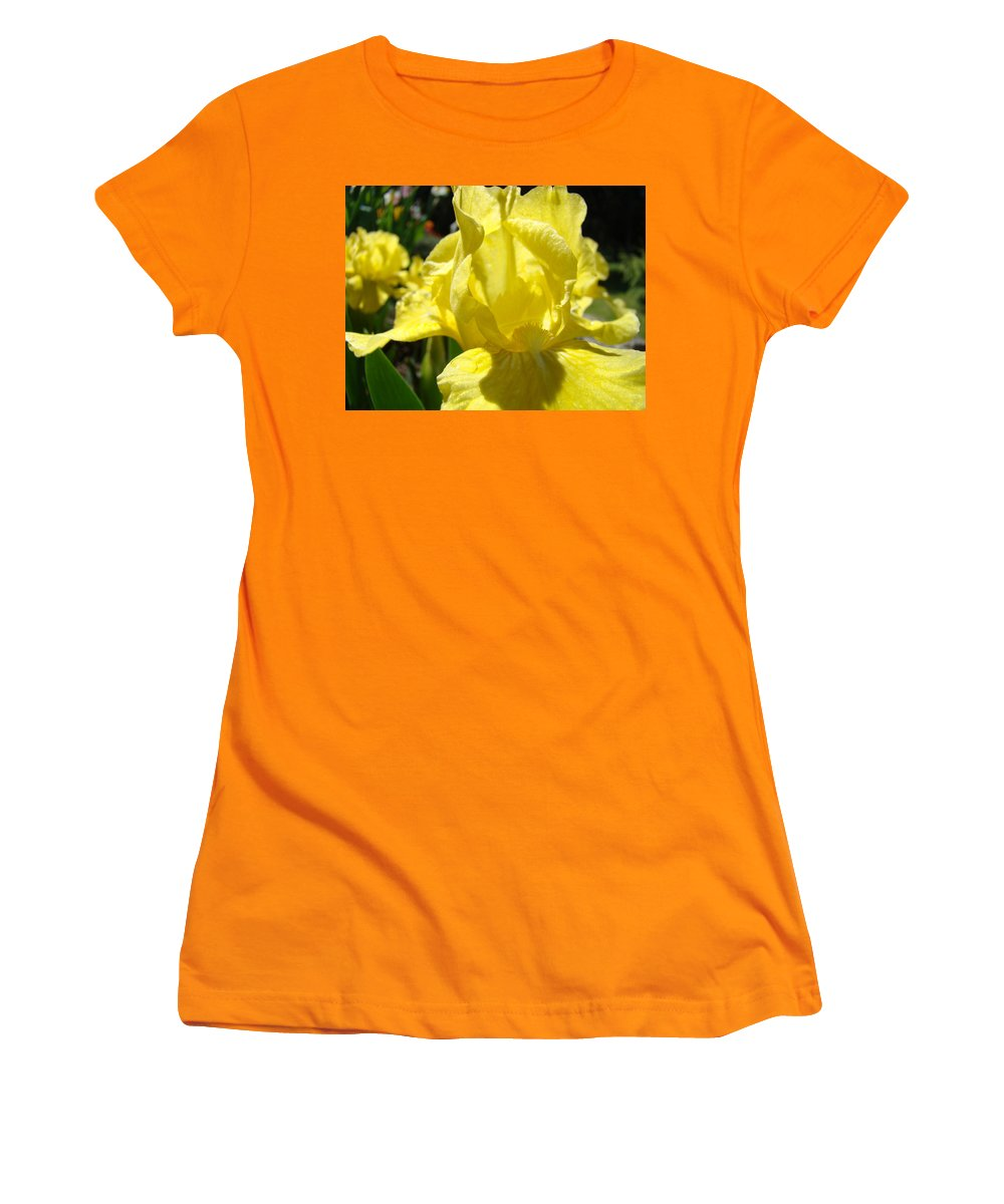 �irises Artwork� Women's T-Shirt (Athletic Fit) featuring the photograph Irises Yellow Iris Flowers Floral Art Prints Botanical Garden Artwork Giclee by Baslee Troutman