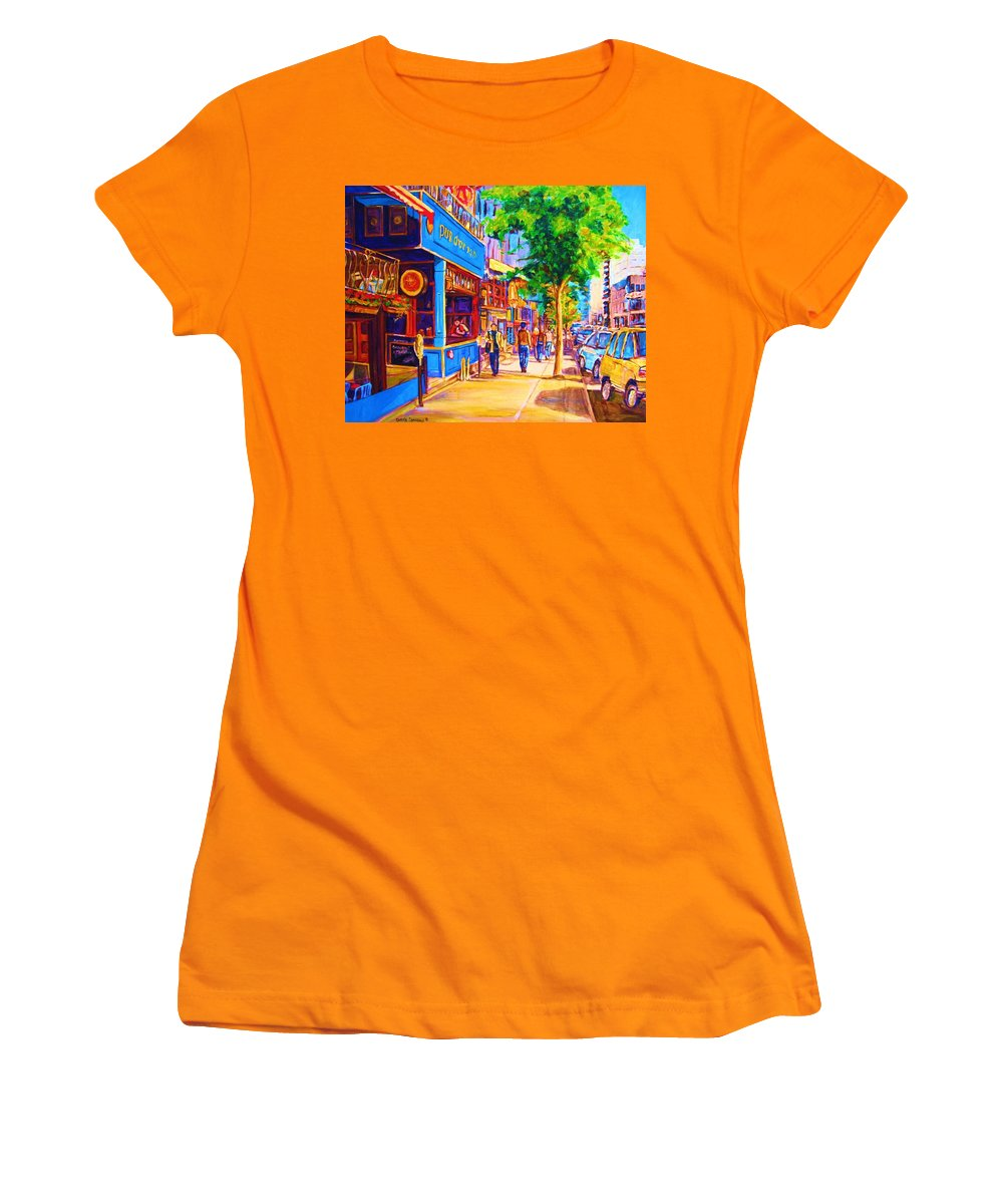 Irish Pub On Crescent Street Montreal Street Scenes Women's T-Shirt (Athletic Fit) featuring the painting Irish Pub On Crescent Street by Carole Spandau