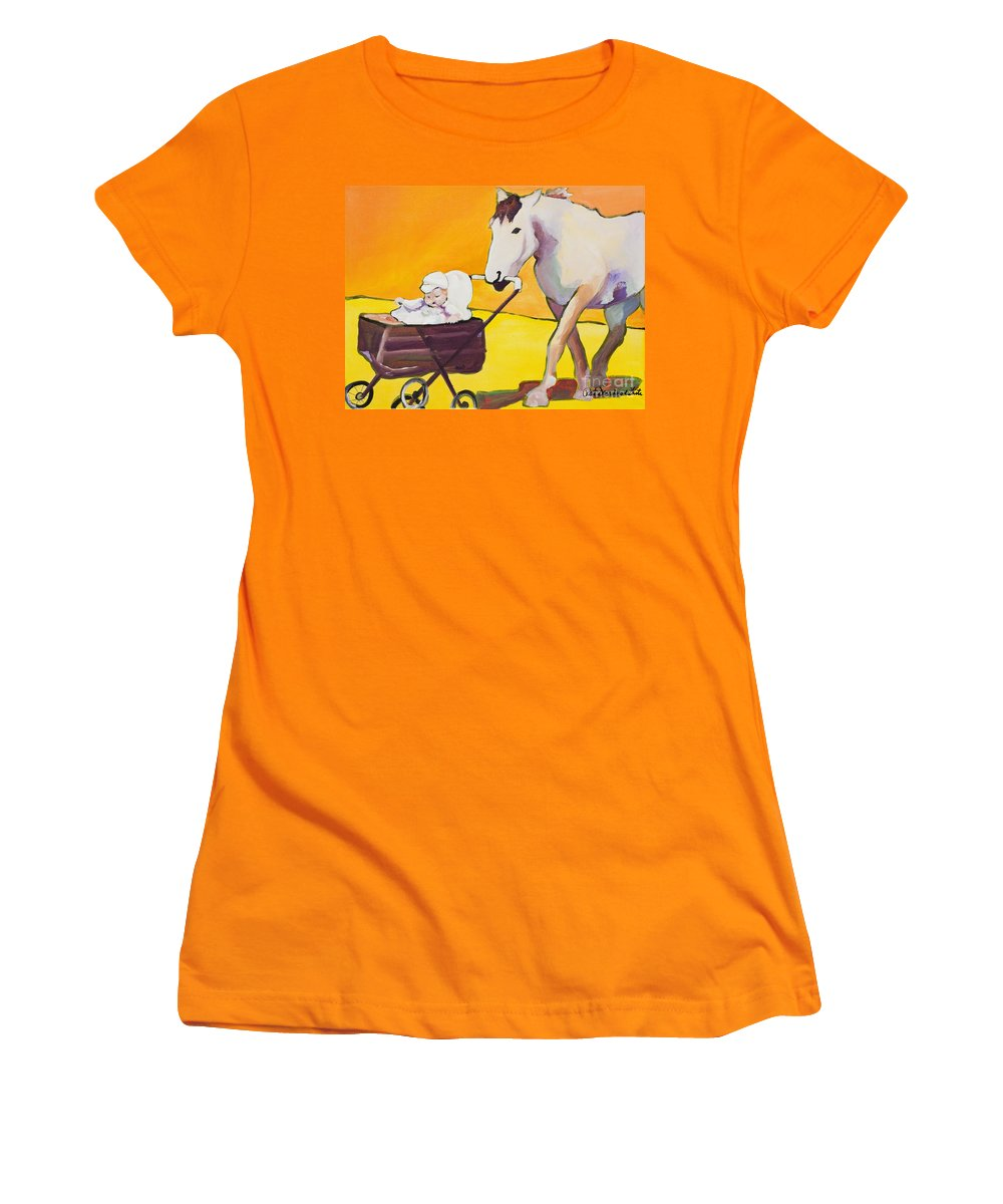 Animal Women's T-Shirt (Athletic Fit) featuring the painting Jake by Pat Saunders-White