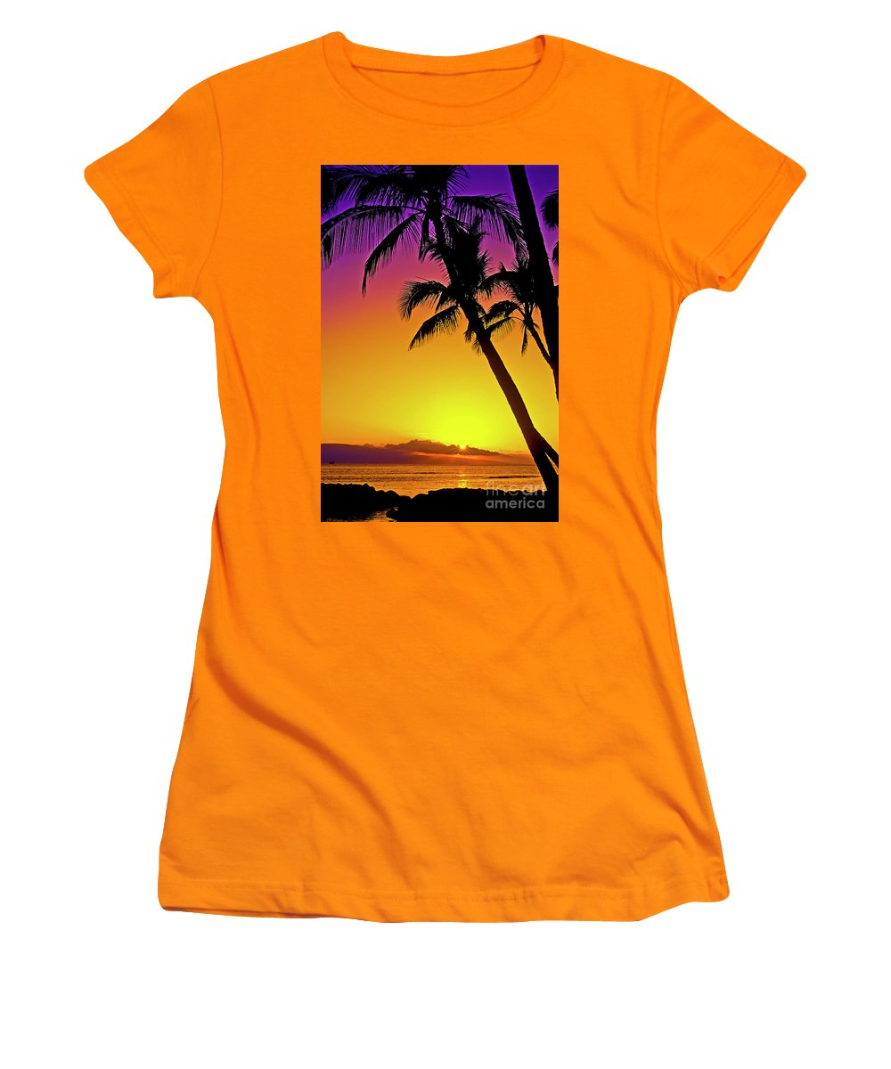 Sunset Women's T-Shirt (Athletic Fit) featuring the photograph Lanai Sunset II Maui Hawaii by Jim Cazel