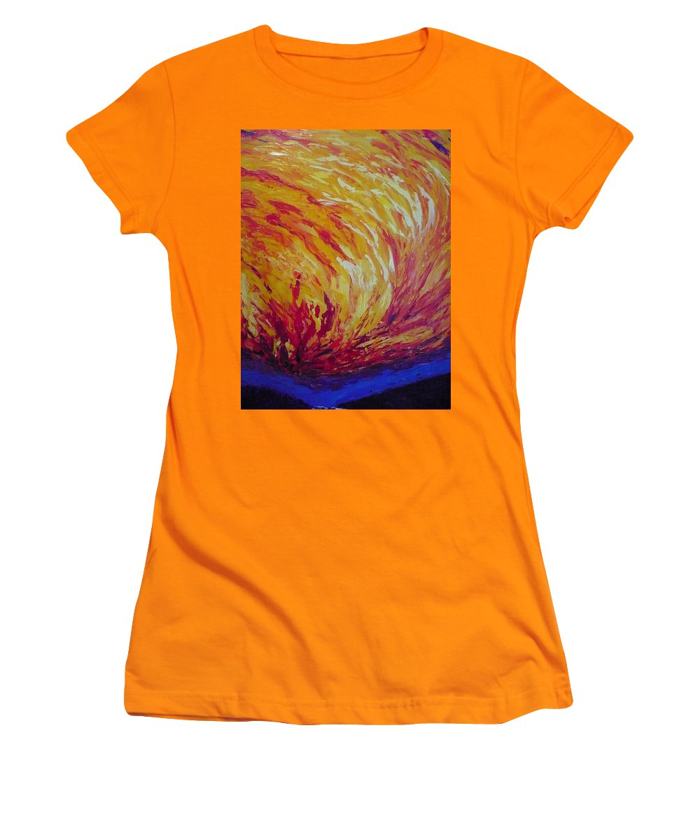Fire Women's T-Shirt (Athletic Fit) featuring the painting Lighting A Match by Ericka Herazo