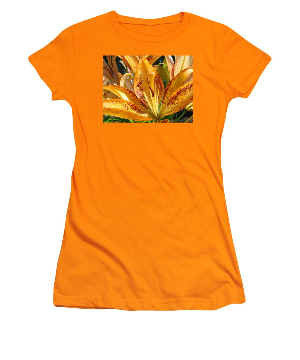 Lilies Women's T-Shirt (Athletic Fit) featuring the photograph Lilies Art Prints Orange Lily Flowers 2 Gilcee Prints Baslee Troutman by Baslee Troutman