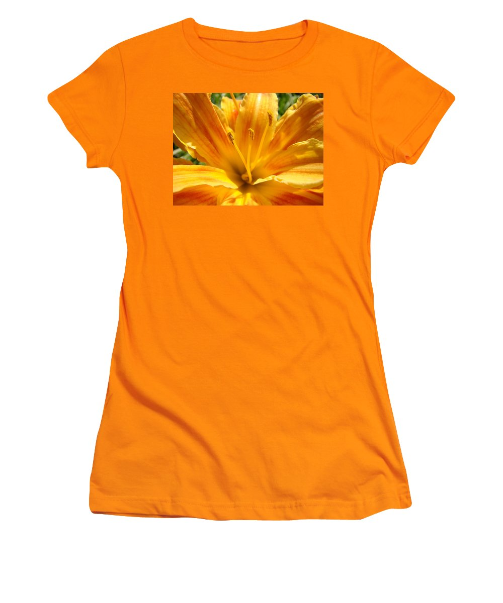 Lilies Women's T-Shirt (Athletic Fit) featuring the photograph Lilies Orange Yellow Lily Flower 1 Giclee Art Prints Baslee Troutman by Baslee Troutman