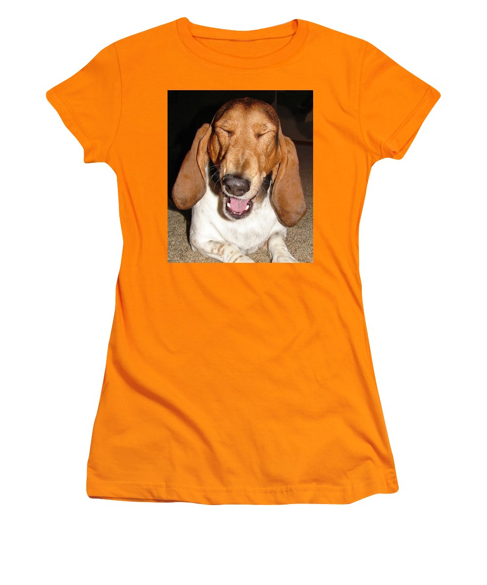 Basset Hound Women's T-Shirt (Athletic Fit) featuring the photograph Lillard by Heather Coen