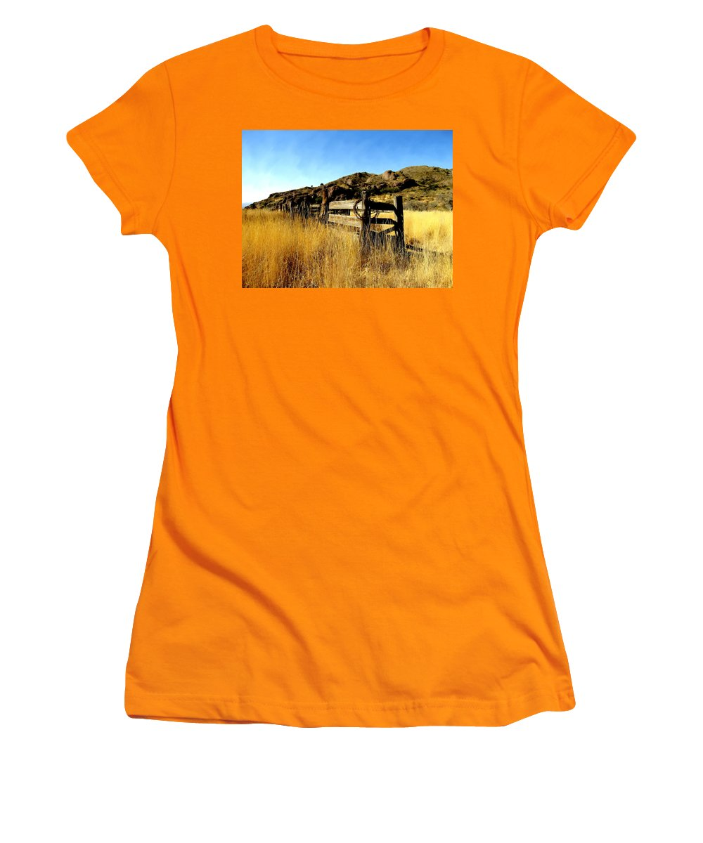 Southwestern Women's T-Shirt (Athletic Fit) featuring the photograph Livery Fence At Dripping Springs by Kurt Van Wagner